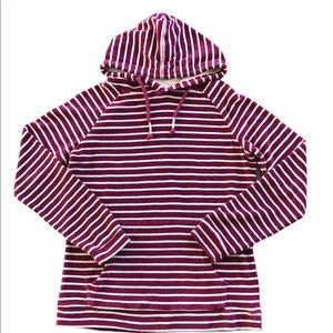 Pullover Terry Cloth Striped Hoodie w/Front…